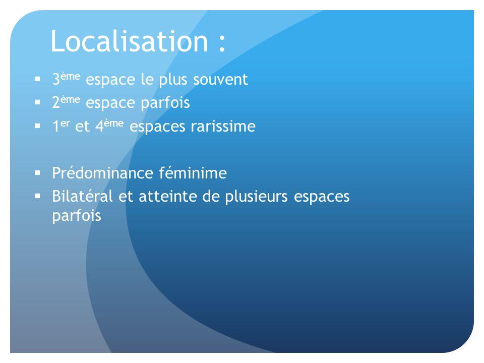 Localisation : 3 ème espace le plus souvent 2 ème espace parfois 1 er et 4 ème espaces rarissime Prédominance féminime Bilatéral et atteinte de plusieurs espaces parfois