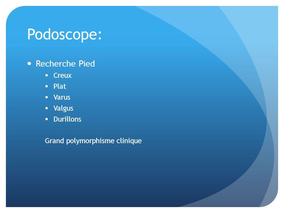 Podoscope: Recherche Pied Creux Plat Varus Valgus Durillons Grand polymorphisme clinique