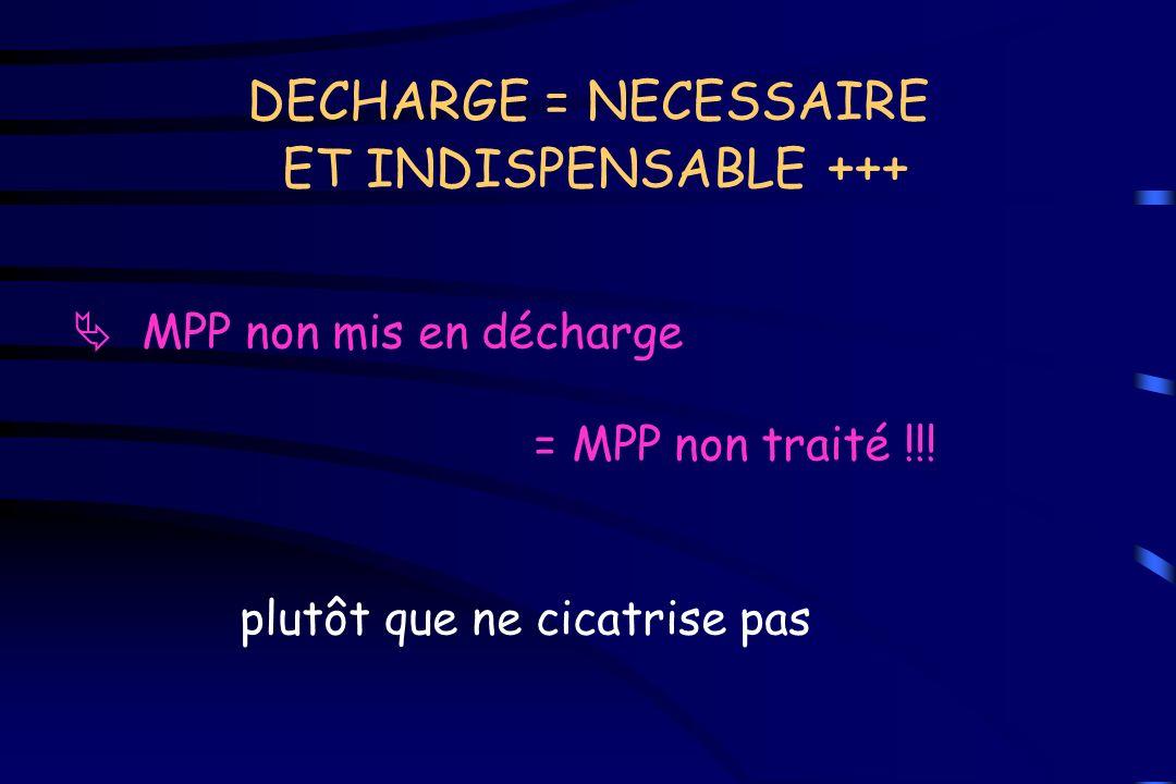 DECHARGE = NECESSAIRE ET INDISPENSABLE +++ MPP non mis en décharge = MPP non traité !!! plutôt que ne cicatrise pas