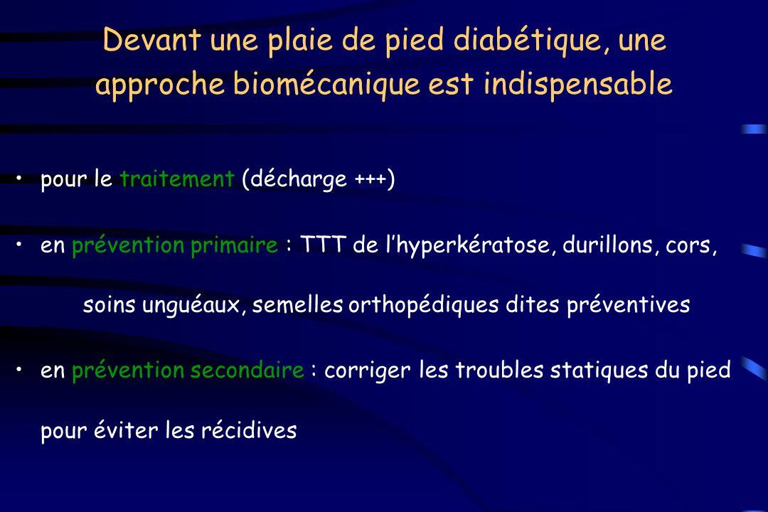 Devant une plaie de pied diabétique, une approche biomécanique est indispensable pour le traitement (décharge +++) en prévention primaire : TTT de lhy
