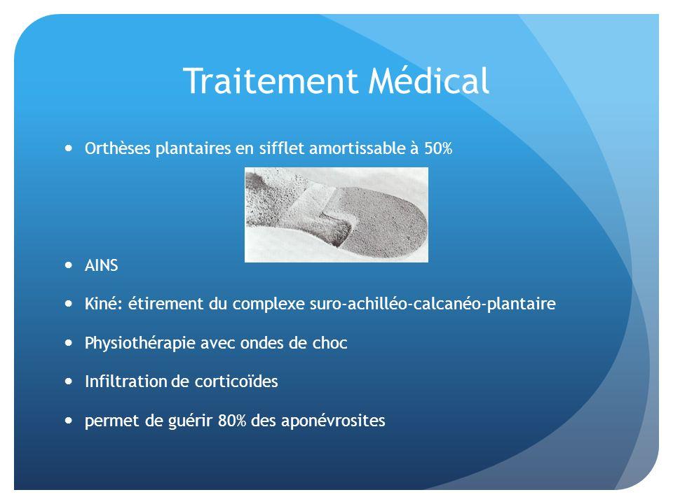 Traitement Médical Orthèses plantaires en sifflet amortissable à 50% AINS Kiné: étirement du complexe suro-achilléo-calcanéo-plantaire Physiothérapie