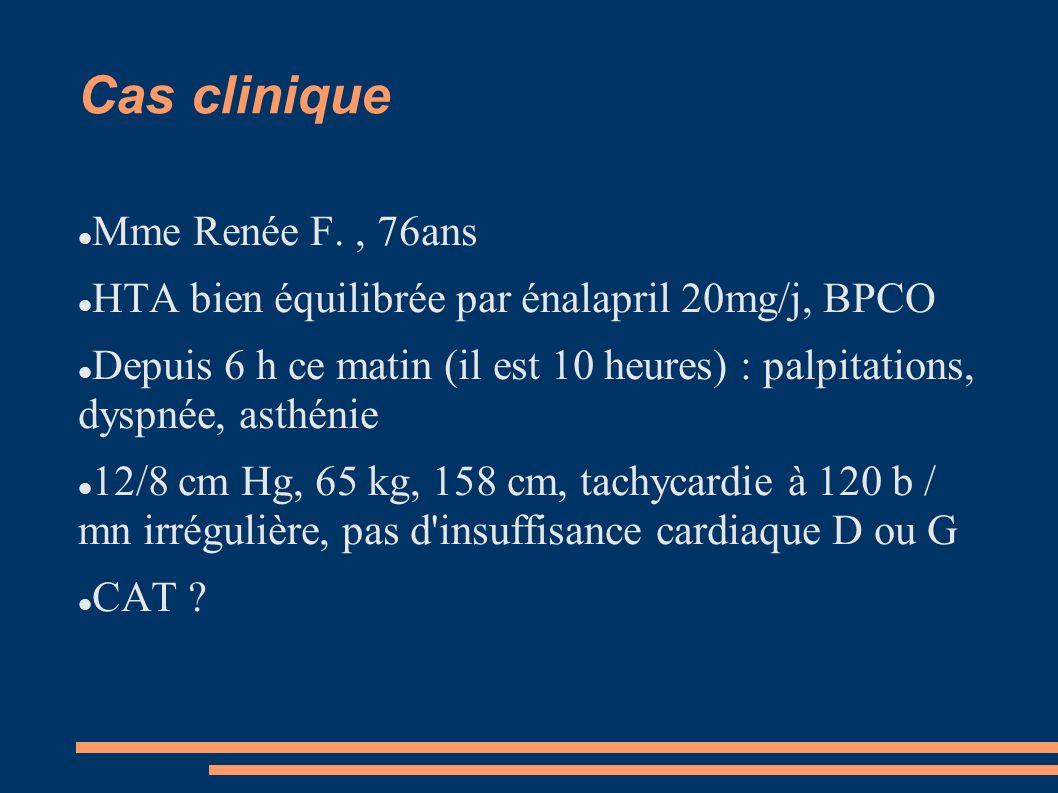 Cas clinique Mme Renée F., 76ans HTA bien équilibrée par énalapril 20mg/j, BPCO Depuis 6 h ce matin (il est 10 heures) : palpitations, dyspnée, asthén