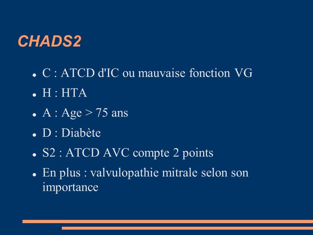 CHADS2 C : ATCD d'IC ou mauvaise fonction VG H : HTA A : Age > 75 ans D : Diabète S2 : ATCD AVC compte 2 points En plus : valvulopathie mitrale selon