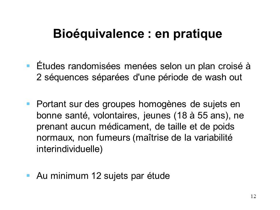 12 Bioéquivalence : en pratique Études randomisées menées selon un plan croisé à 2 séquences séparées d'une période de wash out Portant sur des groupe