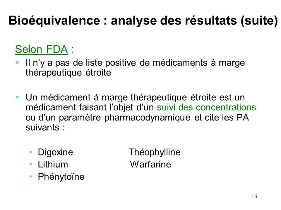 16 Bioéquivalence : analyse des résultats (suite) Selon FDA : Il ny a pas de liste positive de médicaments à marge thérapeutique étroite Un médicament