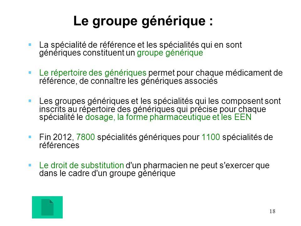 18 Le groupe générique : La spécialité de référence et les spécialités qui en sont génériques constituent un groupe générique Le répertoire des généri