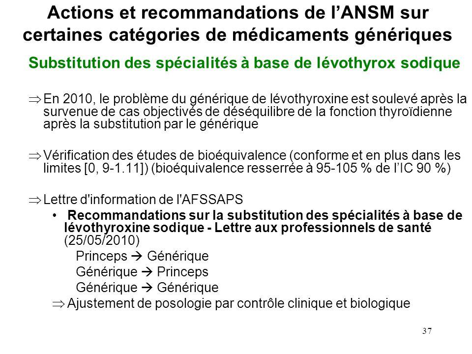 37 Substitution des spécialités à base de lévothyrox sodique En 2010, le problème du générique de lévothyroxine est soulevé après la survenue de cas o