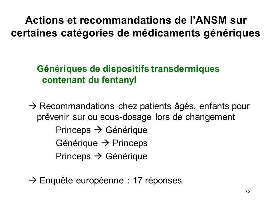 38 Génériques de dispositifs transdermiques contenant du fentanyl Recommandations chez patients âgés, enfants pour prévenir sur ou sous-dosage lors de