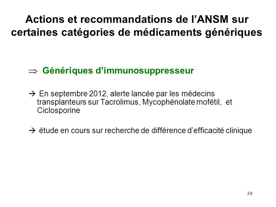 39 Génériques dimmunosuppresseur En septembre 2012, alerte lancée par les médecins transplanteurs sur Tacrolimus, Mycophénolate mofétil, et Ciclospori