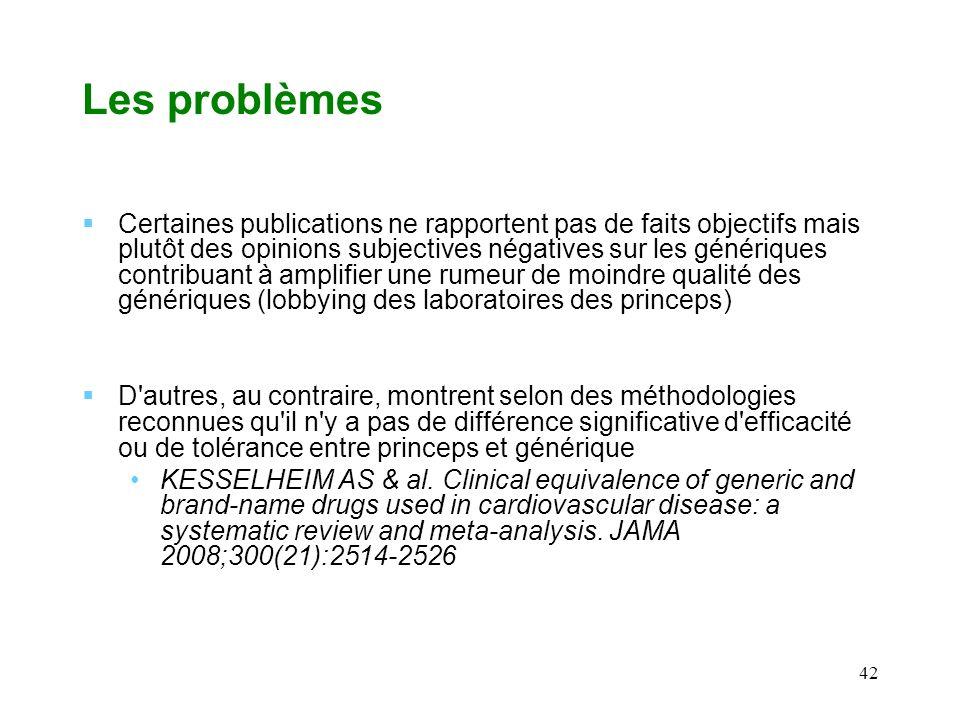 42 Les problèmes Certaines publications ne rapportent pas de faits objectifs mais plutôt des opinions subjectives négatives sur les génériques contrib