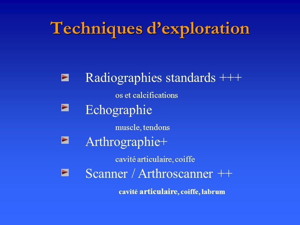 Techniques dexploration Radiographies standards +++ os et calcifications Echographie muscle, tendons Arthrographie+ cavité articulaire, coiffe Scanner