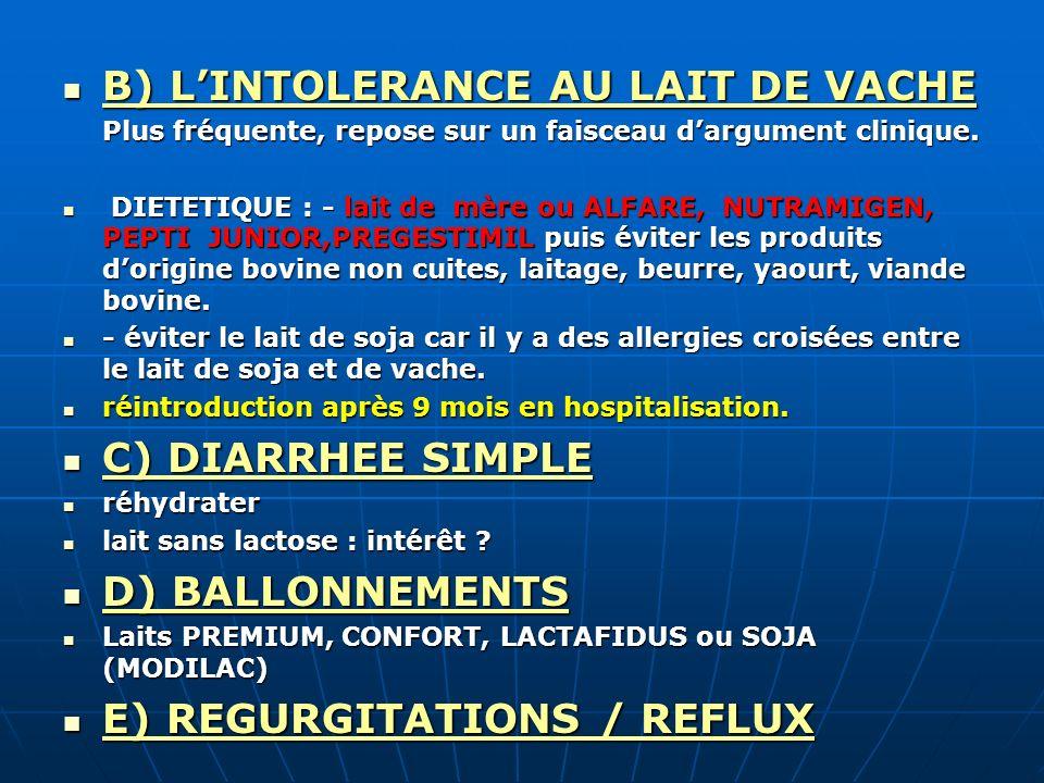 B) LINTOLERANCE AU LAIT DE VACHE B) LINTOLERANCE AU LAIT DE VACHE Plus fréquente, repose sur un faisceau dargument clinique. DIETETIQUE : - lait de mè