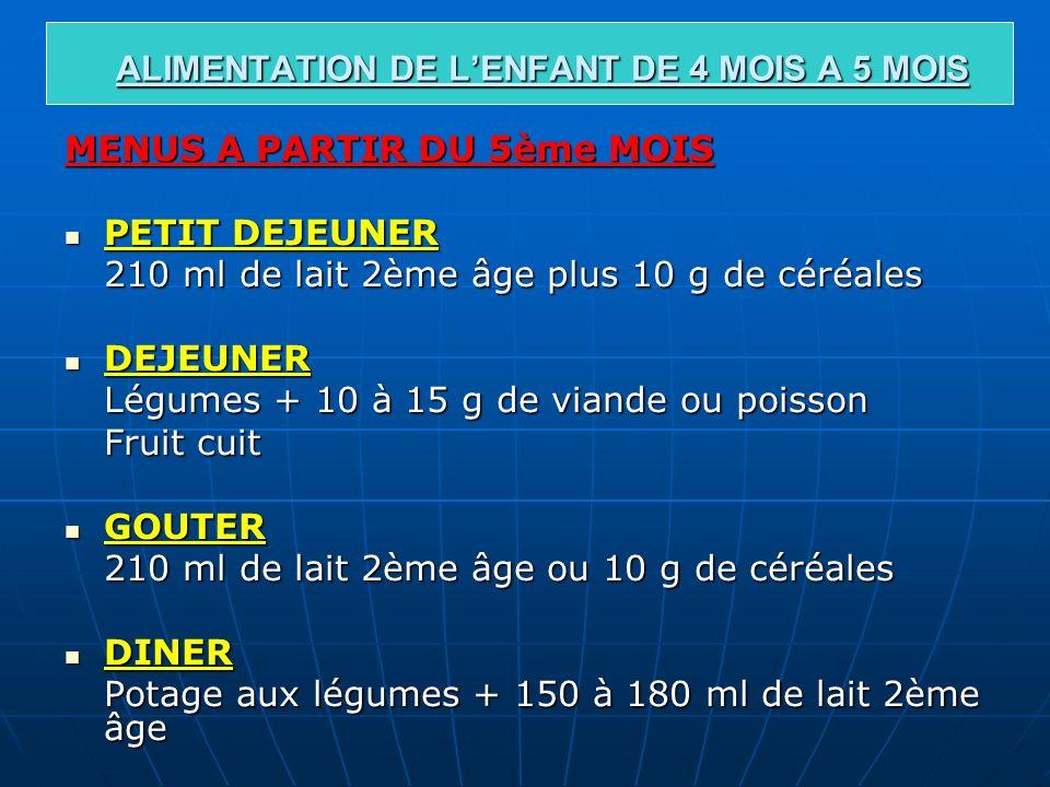 ALIMENTATION DE LENFANT DE 4 MOIS A 5 MOIS MENUS A PARTIR DU 5ème MOIS PETIT DEJEUNER PETIT DEJEUNER 210 ml de lait 2ème âge plus 10 g de céréales DEJ