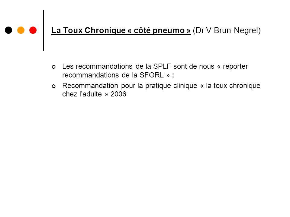 La Toux Chronique « côté pneumo » (Dr V Brun-Negrel) Les recommandations de la SPLF sont de nous « reporter recommandations de la SFORL » : Recommanda