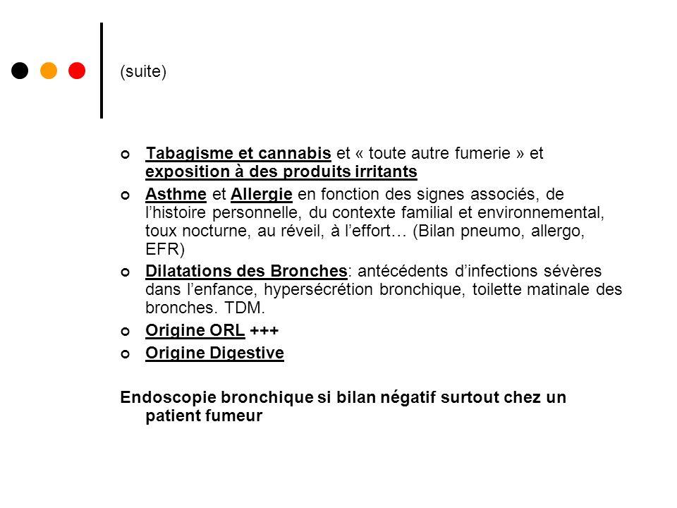 (suite) Tabagisme et cannabis et « toute autre fumerie » et exposition à des produits irritants Asthme et Allergie en fonction des signes associés, de