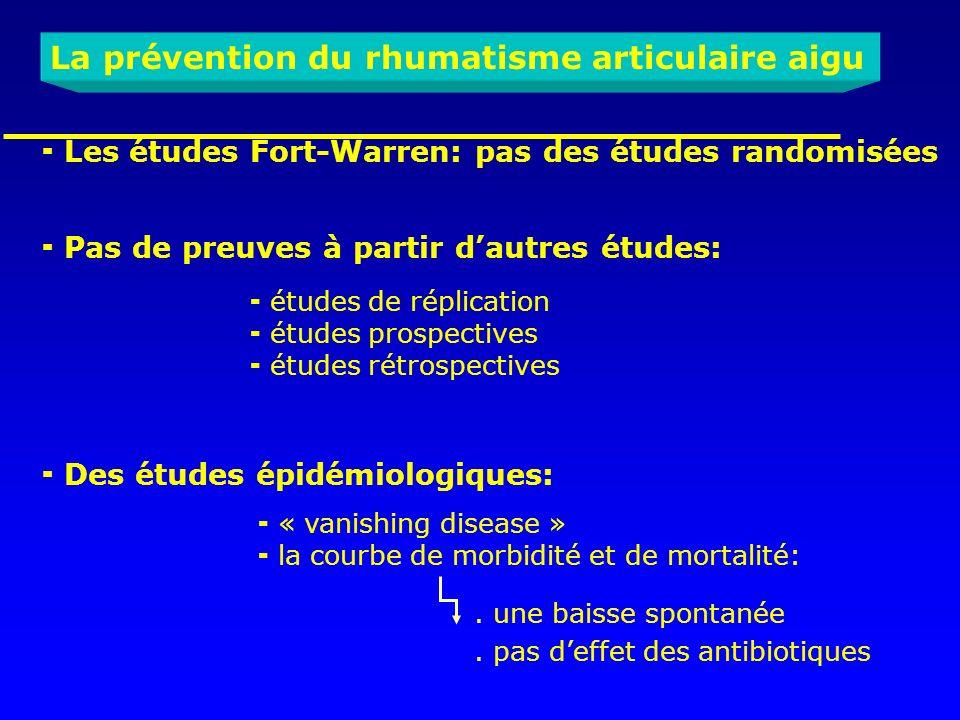 La prévention du rhumatisme articulaire aigu Les études Fort-Warren: pas des études randomisées Pas de preuves à partir dautres études: « vanishing di