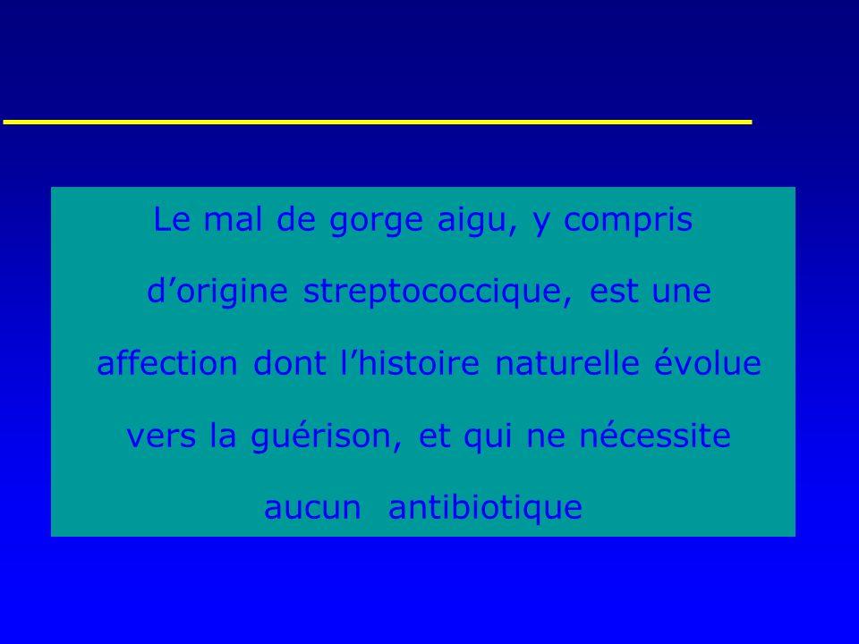 Le mal de gorge aigu, y compris dorigine streptococcique, est une affection dont lhistoire naturelle évolue vers la guérison, et qui ne nécessite aucu