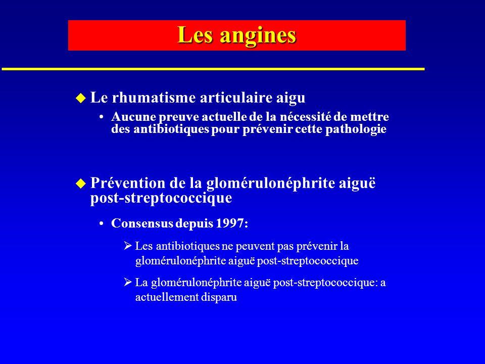 Les angines u Le rhumatisme articulaire aigu Aucune preuve actuelle de la nécessité de mettre des antibiotiques pour prévenir cette pathologie u Préve