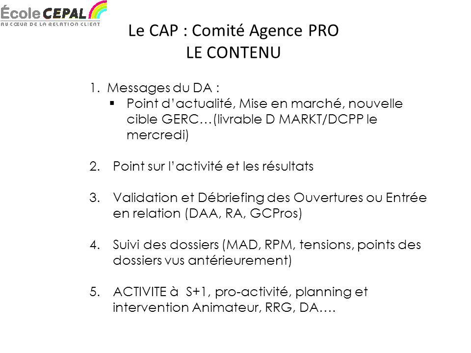 Le CAP : Comité Agence PRO LE CONTENU 1.Messages du DA : Point dactualité, Mise en marché, nouvelle cible GERC…(livrable D MARKT/DCPP le mercredi) 2.Point sur lactivité et les résultats 3.Validation et Débriefing des Ouvertures ou Entrée en relation (DAA, RA, GCPros) 4.Suivi des dossiers (MAD, RPM, tensions, points des dossiers vus antérieurement) 5.ACTIVITE à S+1, pro-activité, planning et intervention Animateur, RRG, DA….
