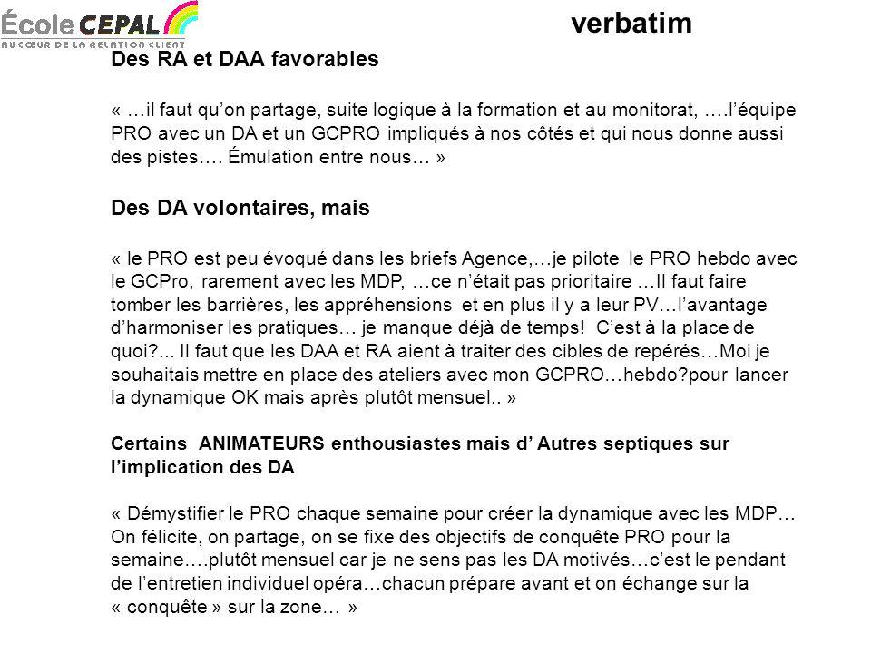 verbatim Des RA et DAA favorables « …il faut quon partage, suite logique à la formation et au monitorat, ….léquipe PRO avec un DA et un GCPRO impliqués à nos côtés et qui nous donne aussi des pistes….