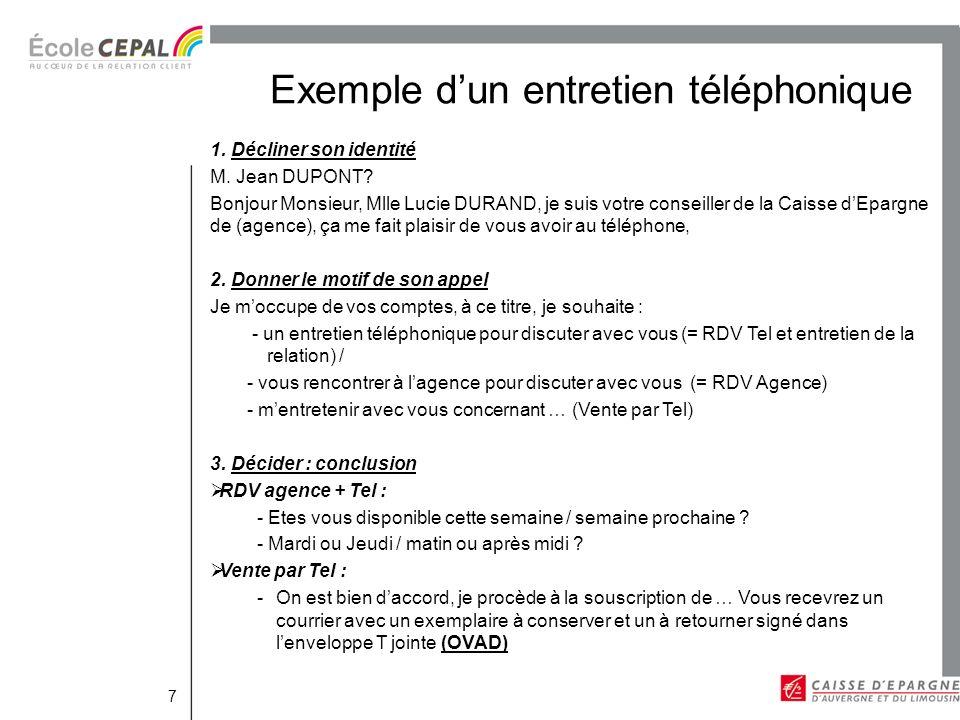 Exemple dun entretien téléphonique 7 1.Décliner son identité M.