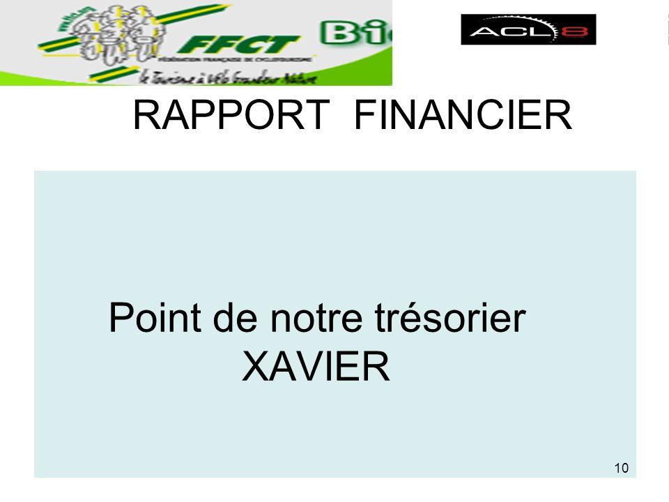 RAPPORT FINANCIER Point de notre trésorier XAVIER 10