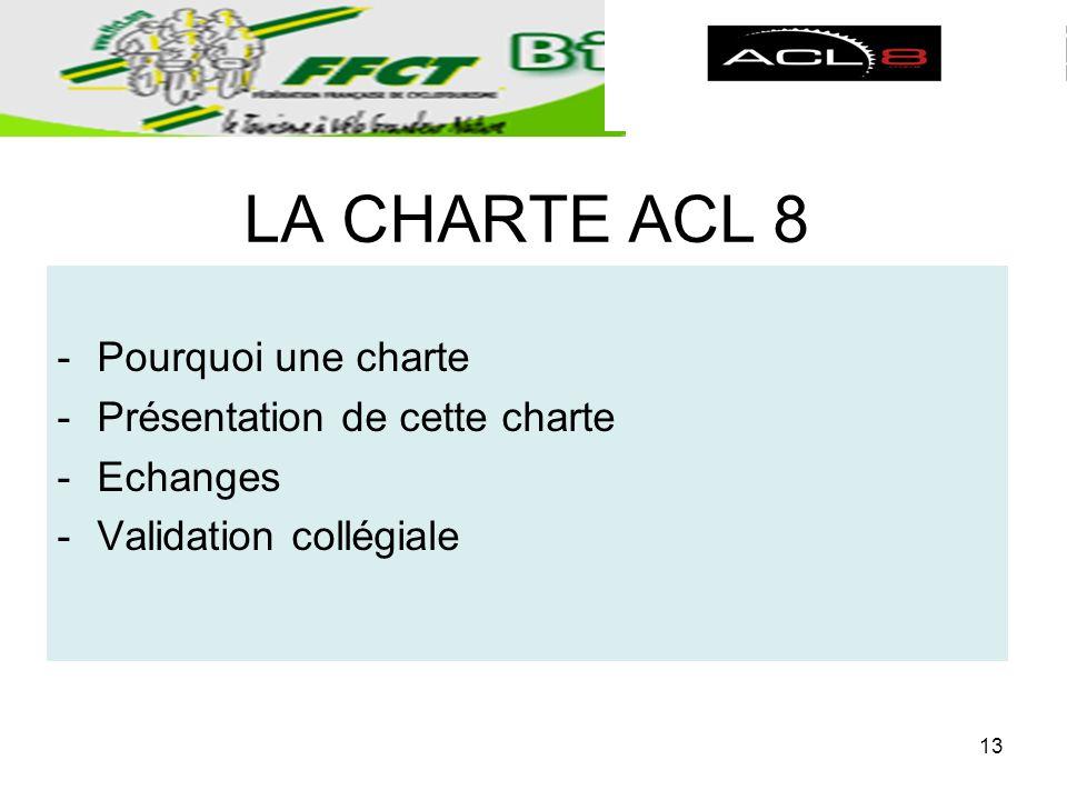 LA CHARTE ACL 8 -Pourquoi une charte -Présentation de cette charte -Echanges -Validation collégiale 13