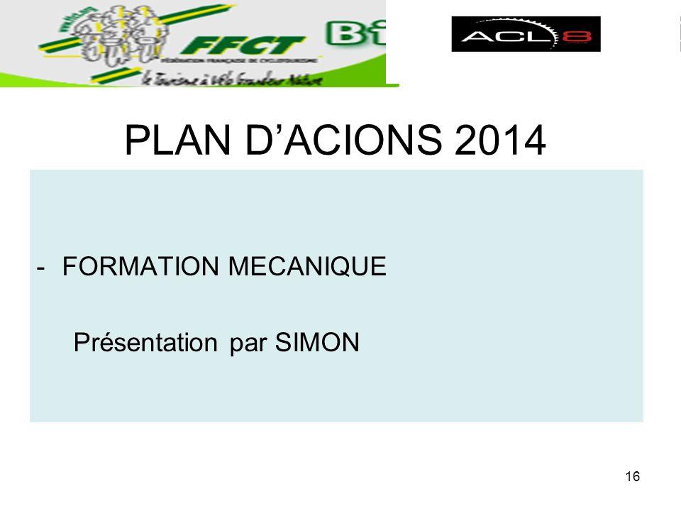 PLAN DACIONS 2014 -FORMATION MECANIQUE Présentation par SIMON 16