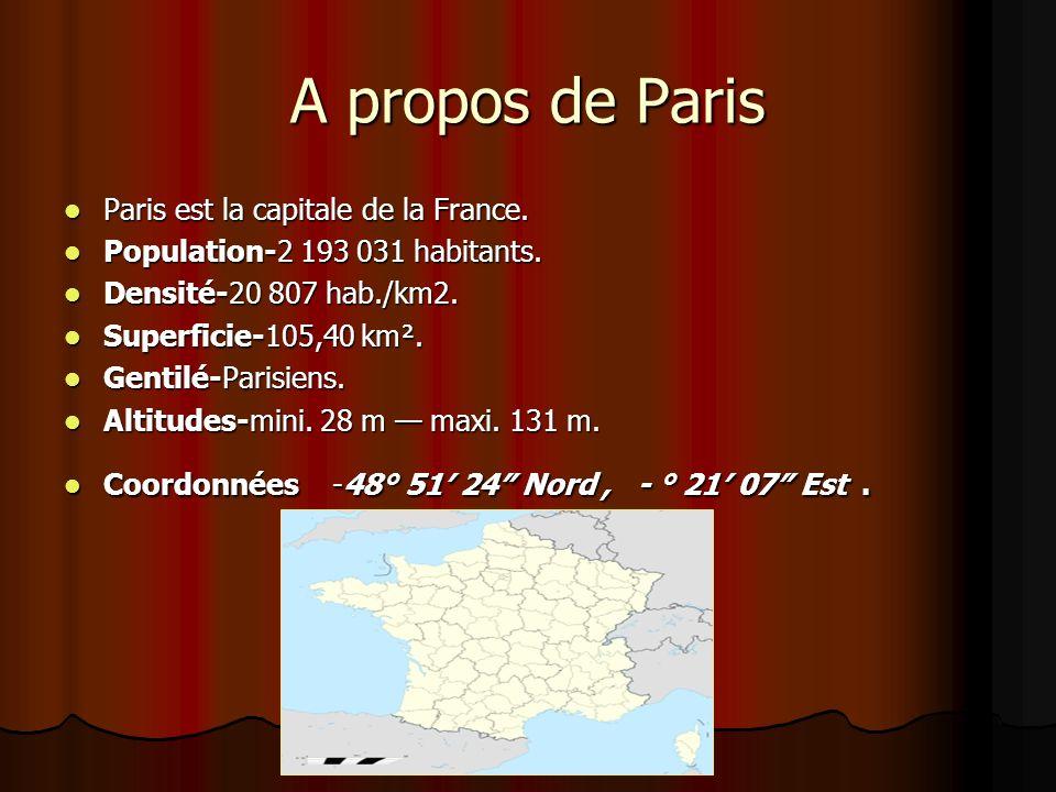 A propos de Paris Paris est la capitale de la France. Paris est la capitale de la France. Population-2 193 031 habitants. Population-2 193 031 habitan