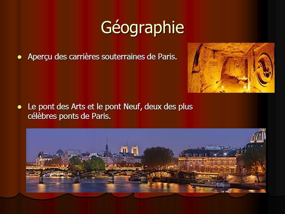 Géographie Aperçu des carrières souterraines de Paris. Aperçu des carrières souterraines de Paris. Le pont des Arts et le pont Neuf, deux des plus cél