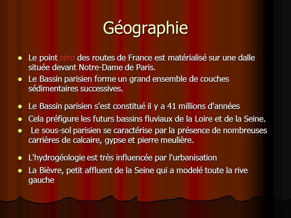 Géographie Le point zéro des routes de France est matérialisé sur une dalle située devant Notre-Dame de Paris.