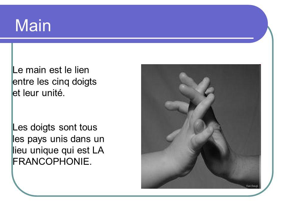 Main Le main est le lien entre les cinq doigts et leur unité. Les doigts sont tous les pays unis dans un lieu unique qui est LA FRANCOPHONIE.