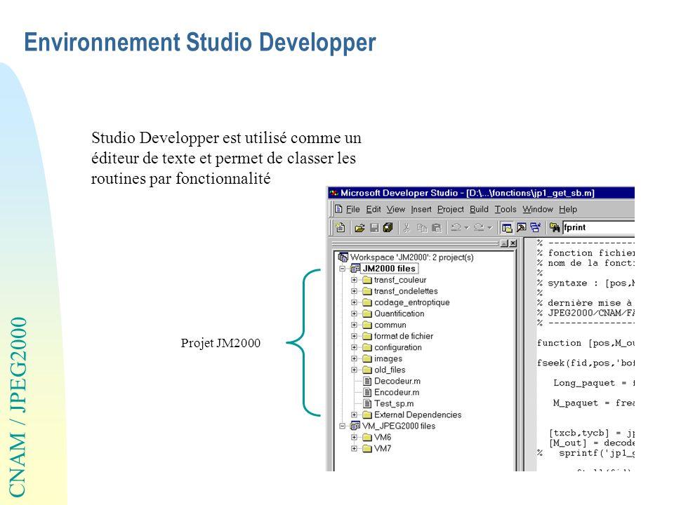 CNAM / JPEG2000 Environnement Studio Developper Studio Developper est utilisé comme un éditeur de texte et permet de classer les routines par fonction