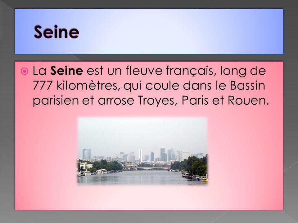 La Seine est un fleuve français, long de 777 kilomètres, qui coule dans le Bassin parisien et arrose Troyes, Paris et Rouen.