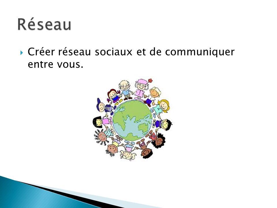 Créer réseau sociaux et de communiquer entre vous.