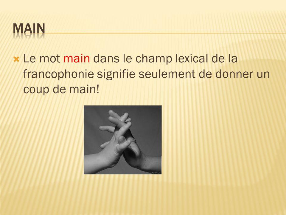 Le mot main dans le champ lexical de la francophonie signifie seulement de donner un coup de main!