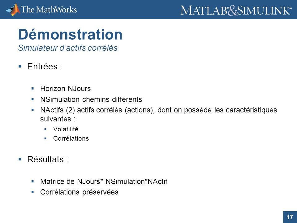 17 ® ® Démonstration Simulateur dactifs corrélés Entrées : Horizon NJours NSimulation chemins différents NActifs (2) actifs corrélés (actions), dont o