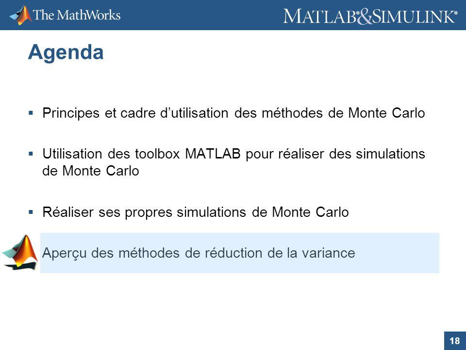 18 ® ® Agenda Principes et cadre dutilisation des méthodes de Monte Carlo Utilisation des toolbox MATLAB pour réaliser des simulations de Monte Carlo
