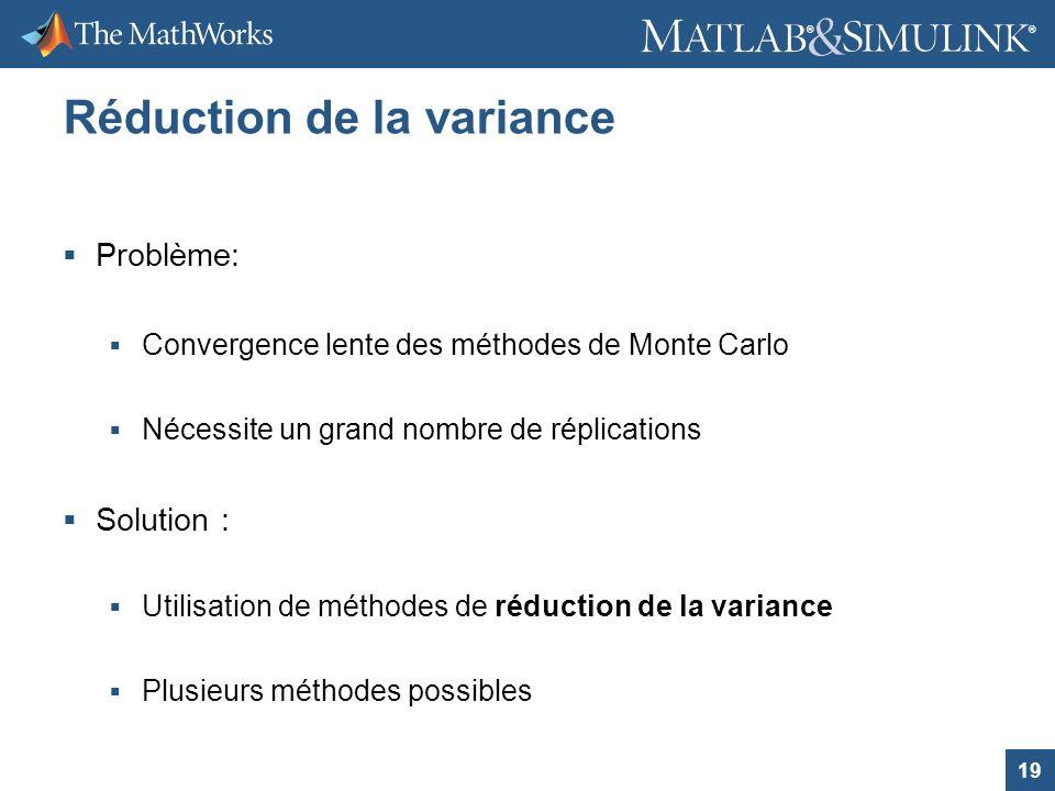 19 ® ® Réduction de la variance Problème: Convergence lente des méthodes de Monte Carlo Nécessite un grand nombre de réplications Solution : Utilisati