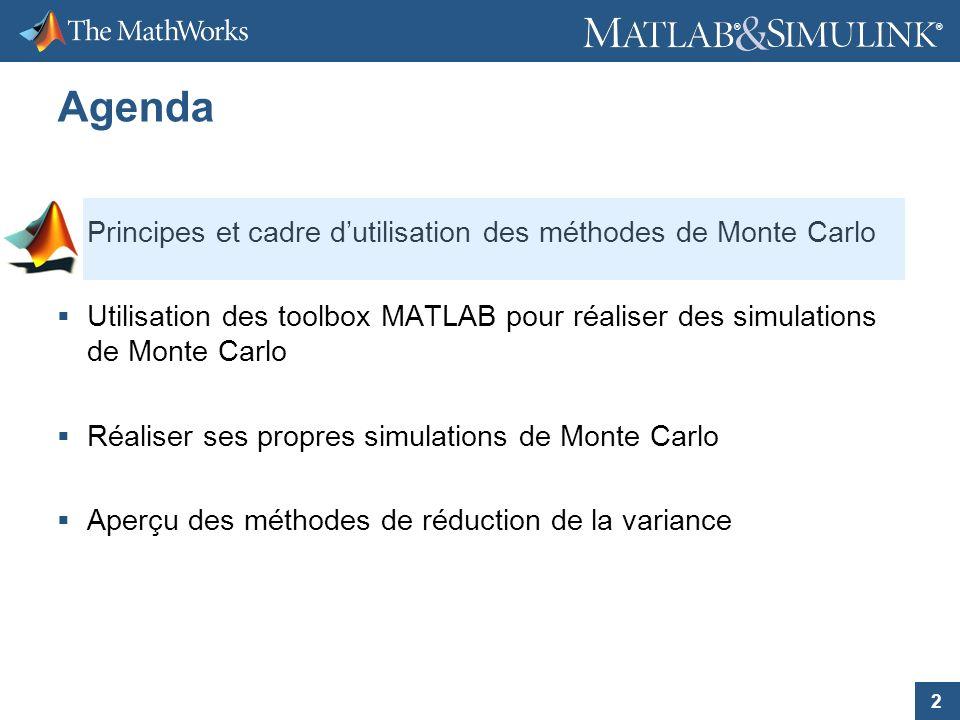 2 ® ® Agenda Principes et cadre dutilisation des méthodes de Monte Carlo Utilisation des toolbox MATLAB pour réaliser des simulations de Monte Carlo R