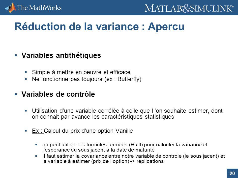 20 ® ® Réduction de la variance : Apercu Variables antithétiques Simple à mettre en oeuvre et efficace Ne fonctionne pas toujours (ex : Butterfly) Var