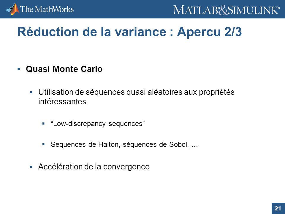 21 ® ® Réduction de la variance : Apercu 2/3 Quasi Monte Carlo Utilisation de séquences quasi aléatoires aux propriétés intéressantes Low-discrepancy