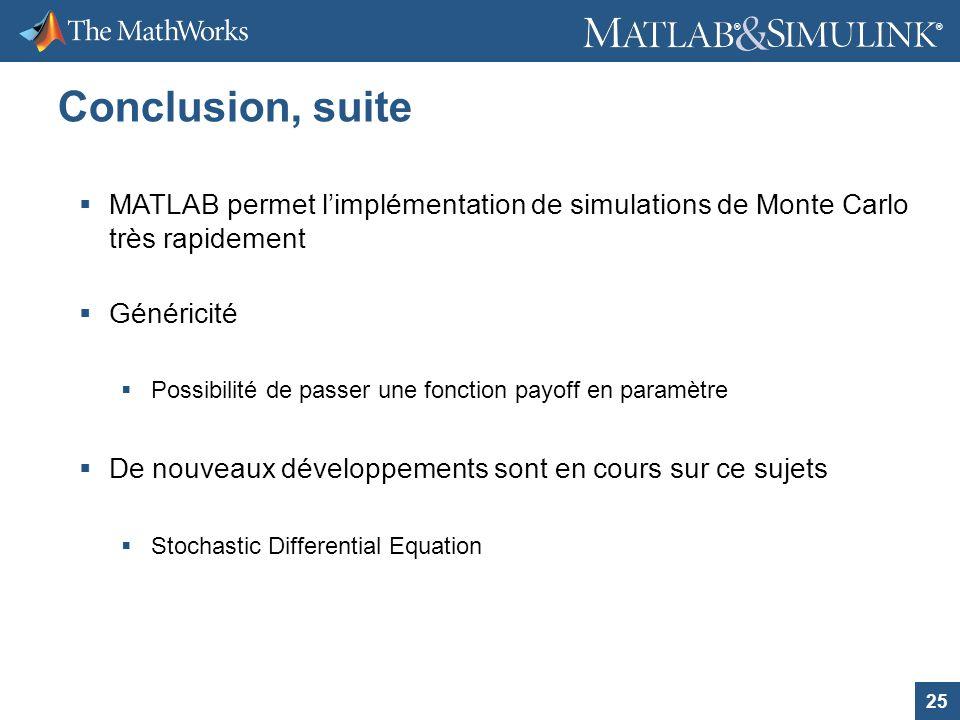 25 ® ® Conclusion, suite MATLAB permet limplémentation de simulations de Monte Carlo très rapidement Généricité Possibilité de passer une fonction pay