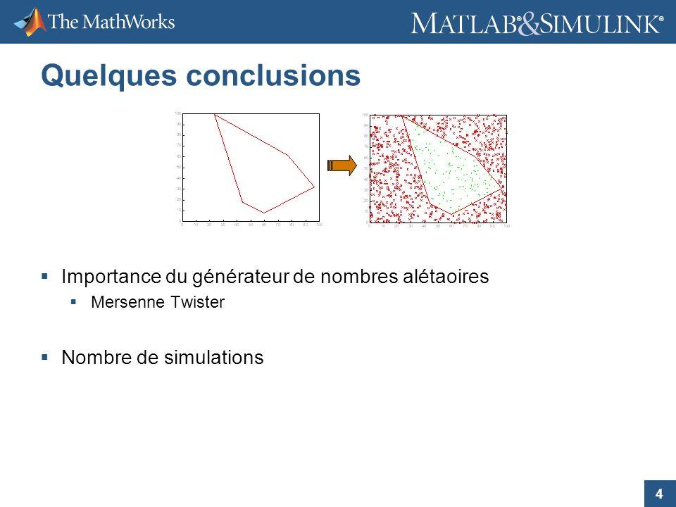 4 ® ® Quelques conclusions Importance du générateur de nombres alétaoires Mersenne Twister Nombre de simulations