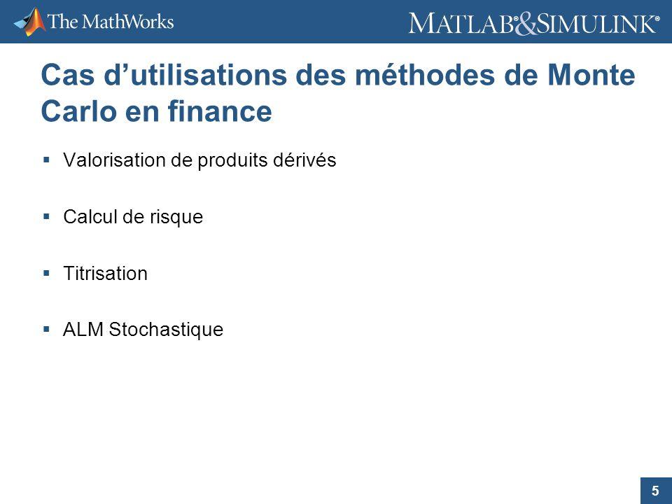 5 ® ® Cas dutilisations des méthodes de Monte Carlo en finance Valorisation de produits dérivés Calcul de risque Titrisation ALM Stochastique