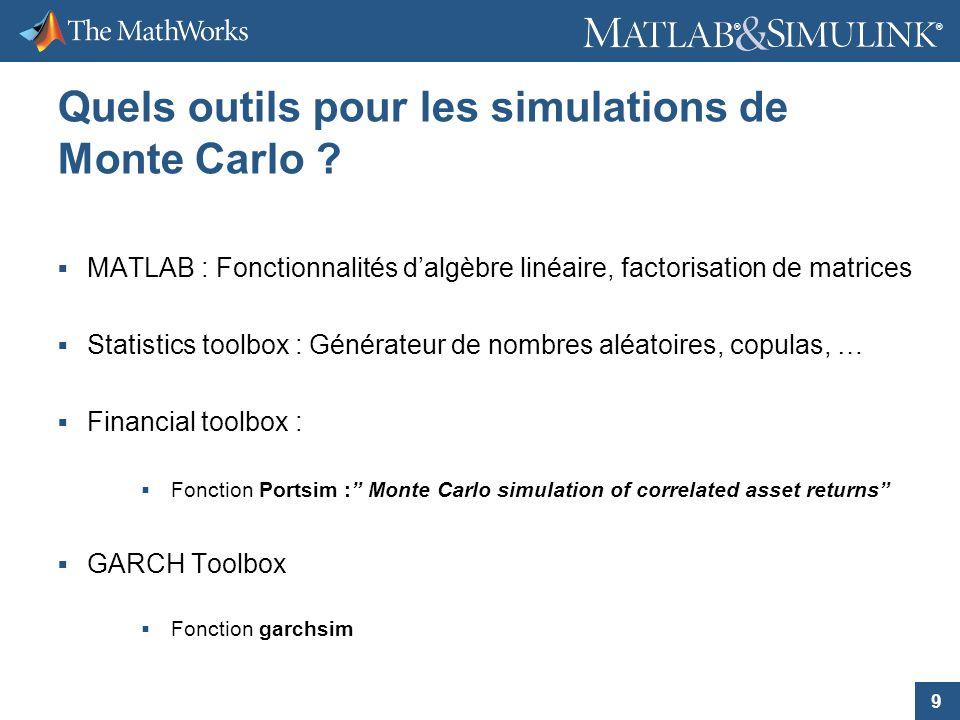 9 ® ® Quels outils pour les simulations de Monte Carlo ? MATLAB : Fonctionnalités dalgèbre linéaire, factorisation de matrices Statistics toolbox : Gé
