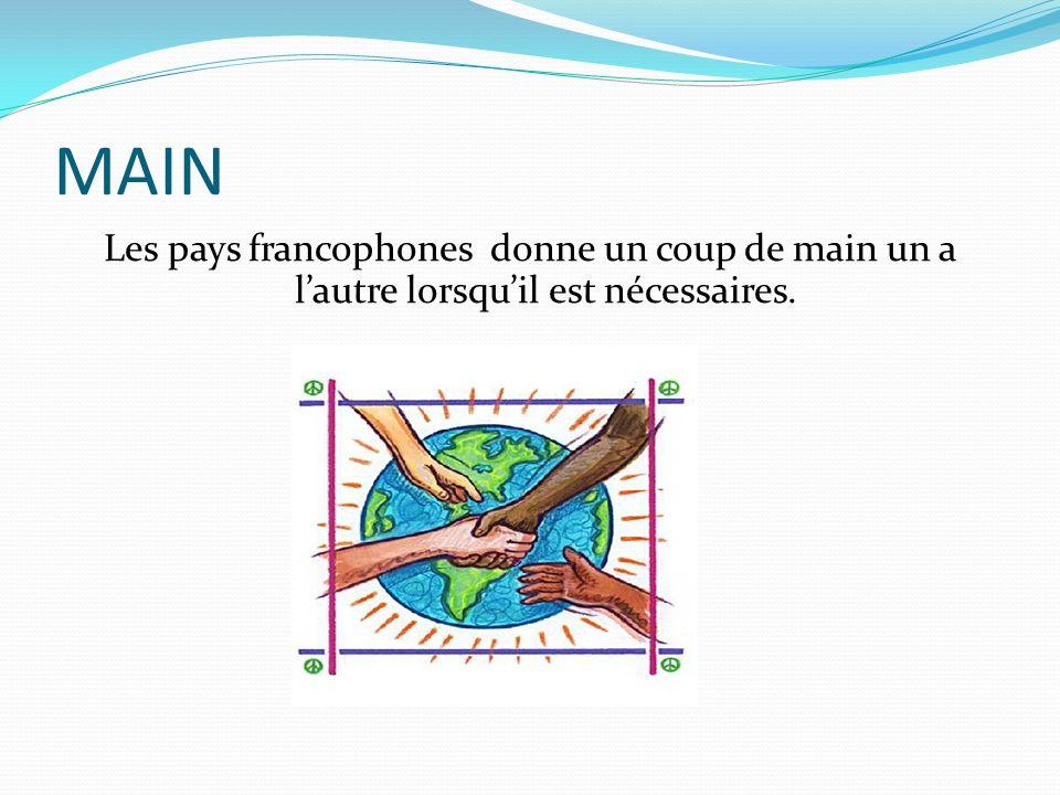 MAIN Les pays francophones donne un coup de main un a lautre lorsquil est nécessaires.