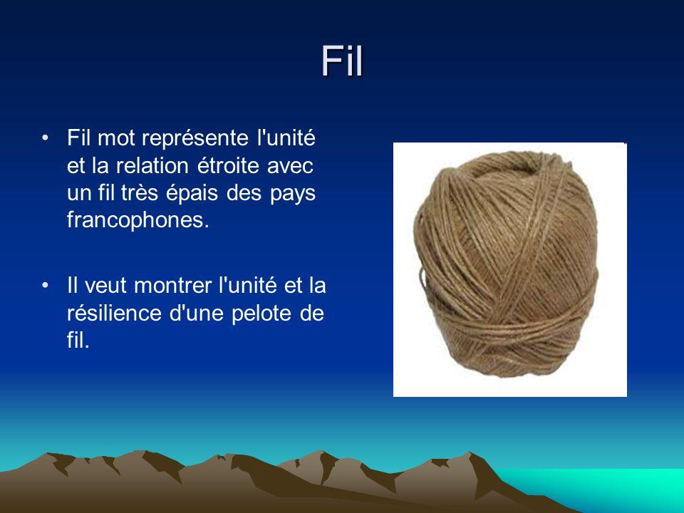 Fil Fil mot représente l'unité et la relation étroite avec un fil très épais des pays francophones. Il veut montrer l'unité et la résilience d'une pel