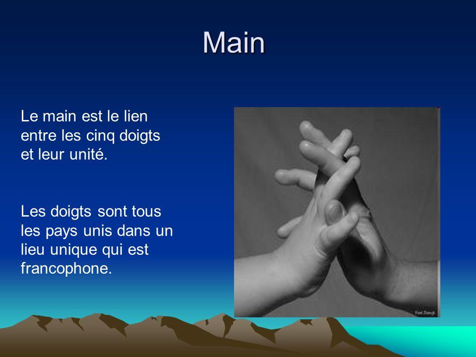 Main Le main est le lien entre les cinq doigts et leur unité. Les doigts sont tous les pays unis dans un lieu unique qui est francophone.