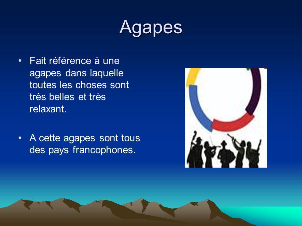 Agapes Fait référence à une agapes dans laquelle toutes les choses sont très belles et très relaxant. A cette agapes sont tous des pays francophones.